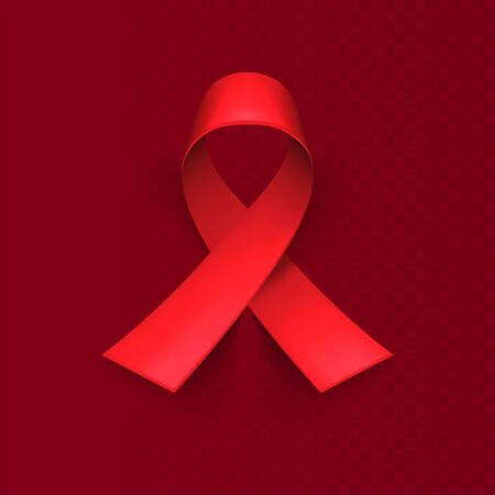 Realistic red ribbon, world aids day symbol, 1 december. Red background, backdrop. Templates for placards, banners, flyers, presentations, reports, invitation, posters, brochure, voucher discount