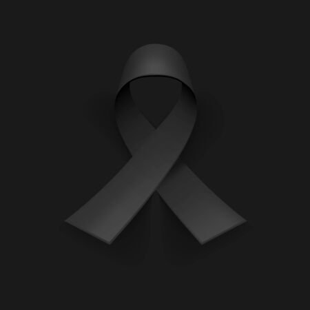 Awareness ribbon. Mourning and melanoma symbol. Black background, backdrop. Templates for placards, banners, flyers, presentations, reports, invitation, posters, brochure, voucher discount 免版税图像 - 144569685