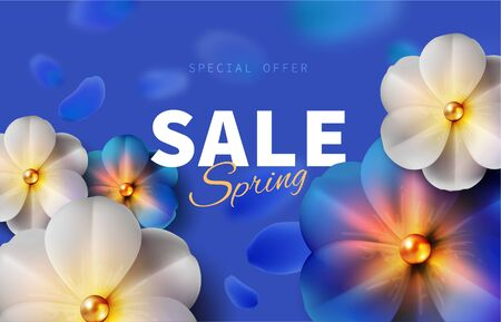 Hello blue spring sale background stock vector illustration. Realistic flower, blurred defocused backdrop. Macro flowers. Green bokeh. Templates for placards, banners, flyers, presentations reports 免版税图像 - 147261750