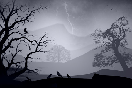 bad weather: Illustration of landscape with trees and crows in bad weather. Stock Photo