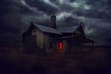 dilapidated: Illustration of a magic dilapidated house at night with bright red glowing windows and crows circling at home.