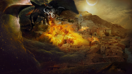 spewing: In the illustration, a terrible demon dragon spewing flames, attacked the town in the mountains at sunset.