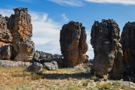 boulders: Magnificent African landscape with boulders with incredibly beautiful sky. Stock Photo