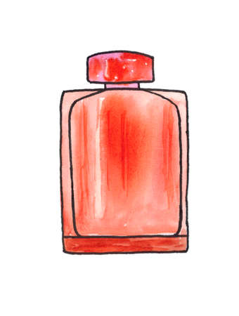 Bottle of perfume, scent fragrance. Cosmetic beauty product. Perfume. Pink tones. The item is isolated against a white background. The illustration is hand-drawn with watercolor. Stock Photo