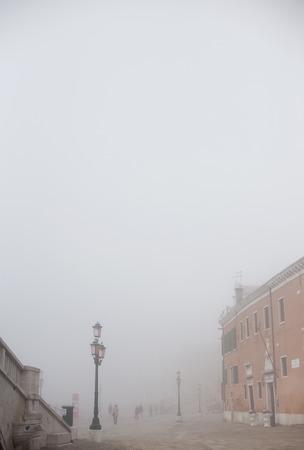 fog in Venice near bridge