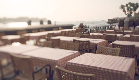 tilt: Tilt shift photo of Venice restaurant in fondamenta Zattere