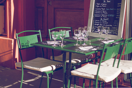 apt: Restaurant in a street of Apt in Provence Stock Photo