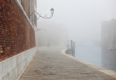 arsenal: Fog in Venice near Arsenal and bridge Stock Photo