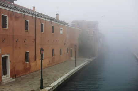 mistic: fog in Venice street Stock Photo