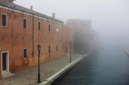 fog in Venice street Stock Photo
