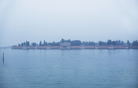 improbable: Fog view of San Michele island in Venice, Italy