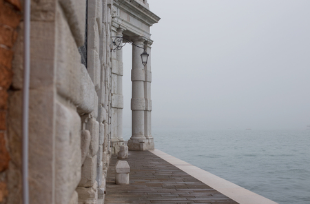 improbable: Fog view on San Marco gulf from Dogana, Venice, Italy