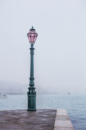 improbable: Fog view on Palazzo Ducale from Dogana in Venice, Italy