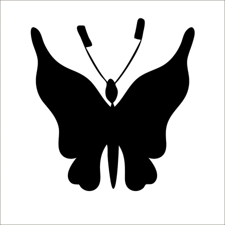 Silhouette of cute cartoon butterfly isolated on white background.