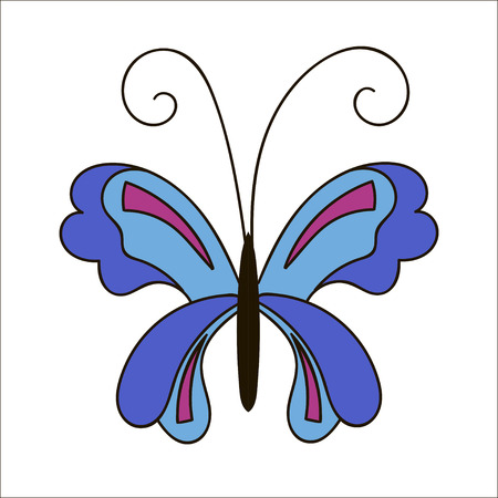 Cute cartoon butterfly isolated on white background.