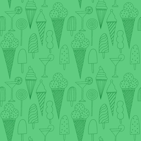 Seamless green pattern with ice cream