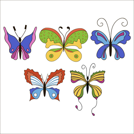 Set of cute cartoon colored butterflies isolated on white background. Illustration