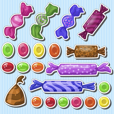 Set of different cartoon candies
