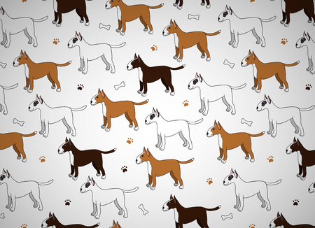 Awesome greeting card with cute cartoon dogs. Breed bullterier. Good for wallpaper, pattern fills, greeting cards, webpage backgrounds, wrapping paper and textile or fabric.