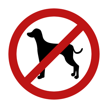 Sign of dog prohibition isolated on white background. Black silhouette. illustration.