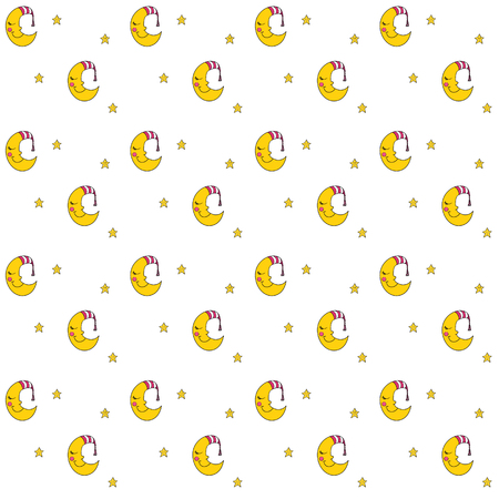 Seamless pattern with cartoon sleeping moon in striped cap and little stars. Good night! Can be used for wallpaper, pattern fills, greeting cards, webpage backgrounds, wrapping paper, scrap booking and textile or fabric.