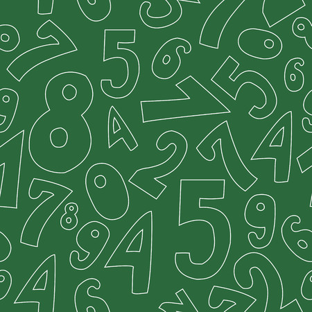 Seamless pattern with numbers on green background
