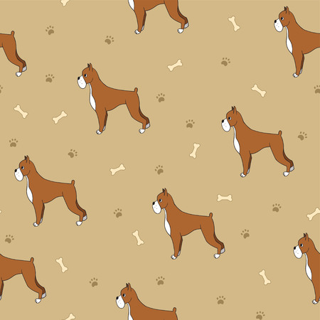 Beautiful seamless pattern with cartoon cute dogs. Breed - boxer. Good for wallpaper, pattern fills, greeting cards, webpage backgrounds, wrapping paper and textile or fabric. illustration.