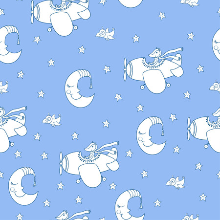 Awesome seamless patterm with cartoon crescent, stars and cute fox pilot on the aircraft. For textile, fabric, bedroom interiors: wallpaper, pillow, blanket, pajamas. Good for restful sleep. Illustration