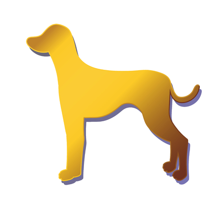 dalmatian: Silhouette of gold dog isolated on white background. Breed dalmatian. illustration.