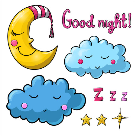 Set of images about sleeping for coloring. Good night! Sleeping moon in striped cap, sleeping cloud, ?arious of stars with faces.