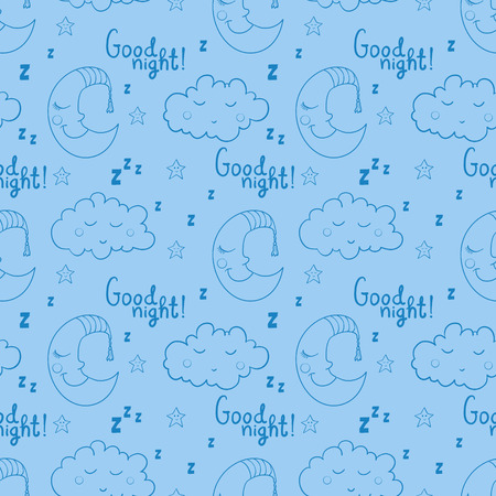 Seamless pattern with cartoon sleeping moon, cloud and star. Good night! Can be used for wallpaper, pattern fills, greeting cards, webpage backgrounds, wrapping paper, scrap booking and textile or fabric.