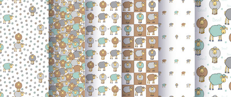 Set of seamless cute patterns with cartoon sheep. Good for surface design, textile, fabric, wrapping paper, pattern fills, decoupage, scrapbooking. illustration.