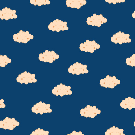 Beautiful seamless pattern with cute sleeping clouds. Good night! For textile, fabric, bedroom interiors: wallpaper, pillow, blanket, pajamas. Good for restful sleep.