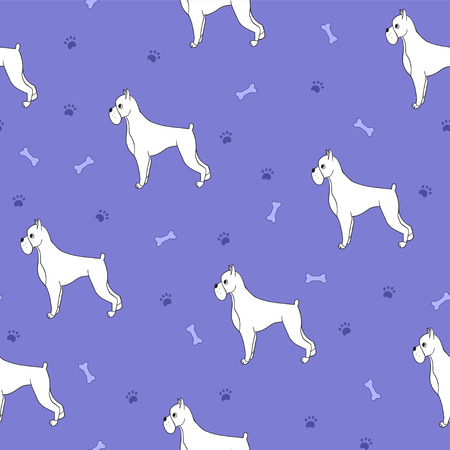 Unusual seamless pattern with cartoon cute dogs. Breed - boxer. Good for wallpaper, pattern fills, greeting cards, webpage backgrounds, wrapping paper and textile or fabric. Violet colour. illustration.