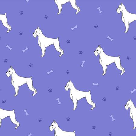 Ungewöhnliches nahtloses Muster mit niedlichen Hunden der Karikatur. Rasse - Boxer. Gut für Tapete, Musterfüllen, Grußkarten, Webseitenhintergründe, Packpapier und Gewebe oder Gewebe. Violette Farbe. Illustration. Standard-Bild - 84804750