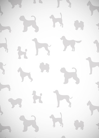 Awesome greeting card with silhouettes of cartoon dogs. Different breeds. illustration. Illustration