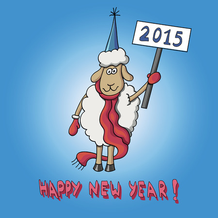fun card happy new year with sheep stock vector 85308726