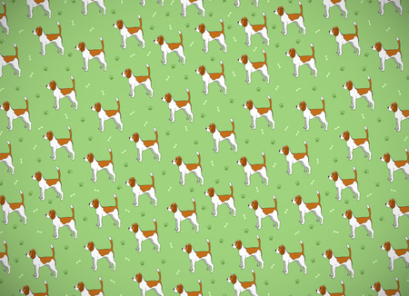 Awesome greeting card with cute cartoon dog. Breed beagle. Can be used for wallpaper, pattern fills, greeting cards, webpage backgrounds, wrapping paper and textile or fabric.