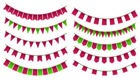 Set of cartoon flag garlands isolated on white background.
