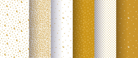 Set of seamless simple abstract patterns with gold or yellow stars and moons on white background. Good for surface design.  illustration. Ilustração