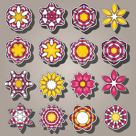 Set of cartoon colored flowers in flat style. Can be used for wallpaper, pattern fills, greeting cards, webpage backgrounds, wrapping paper, scrap booking and textile or fabric.