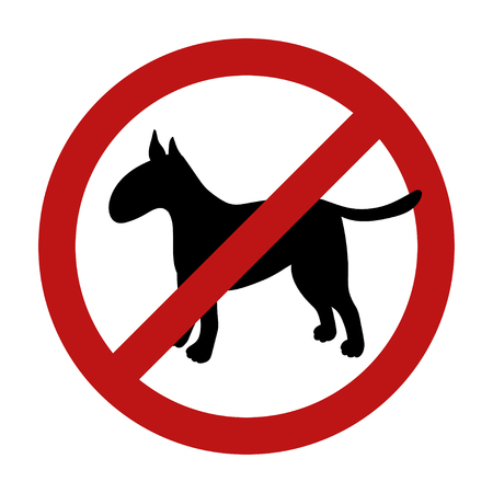 Sign of dog prohibition isolated on white background. Black silhouette. Breed bullterrier. Vector illustration. Illustration
