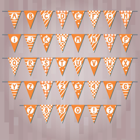 Set of cartoon flag garlands with alphabet: letters and numbers.  Good for events, celebrations, festivals, fairs, markets, party and carnival. Stock Vector - 85308768