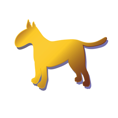 Silhouette of gold dog isolated on white background. Breed bullterrier. Vector illustration.