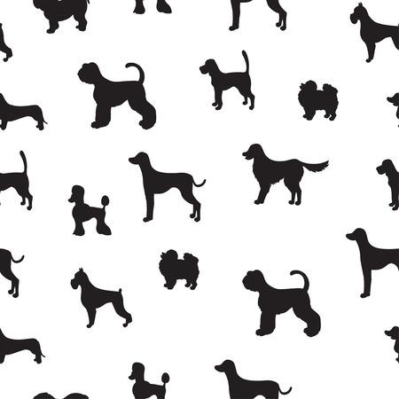 강아지 실루엣과 비정상적인 원활한 패턴입니다. 다른 품종의 집합입니다. 벽지, 패턴 채우기, 인사 장, 웹 페이지 배경, 포장지 및 섬유 또는 직물에