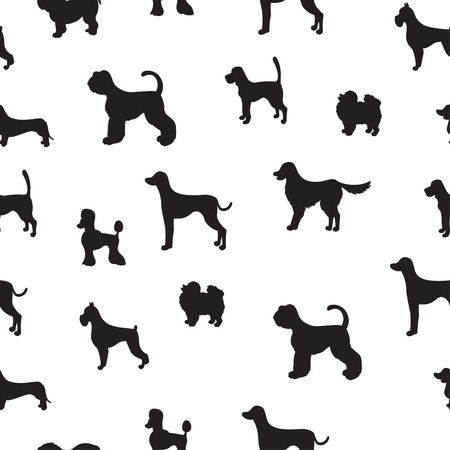Ongebruikelijk naadloos patroon met hondsilhouetten. Set van verschillende rassen. Goed voor behang, opvulpatronen, wenskaarten, webpagina-achtergronden, inpakpapier en textiel of textiel. illustratie.
