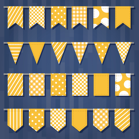 Set of garlands with flags. Cute simple patterns Good for events, celebrations, festivals, fairs, markets, party and carnival.