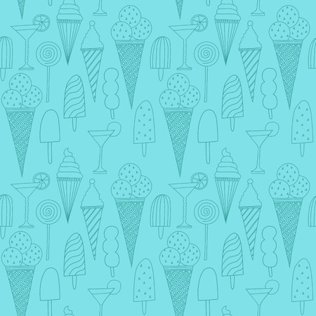 Seamless blue pattern with ice cream