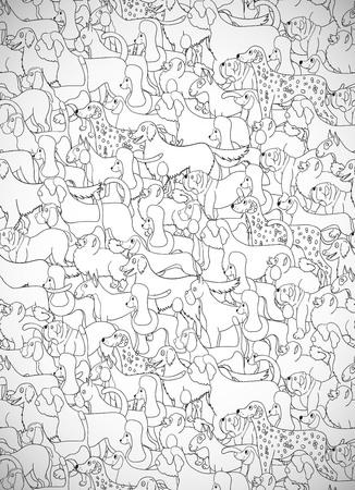 Grußkarte mit niedlichen Cartoon-Hunde. Verschiedene Rassen. Muster ist gut für Tapete, Musterfüllungen, Grußkarten, Webseitenhintergründe, Packpapier und Gewebe oder Gewebe. Illustration. Standard-Bild - 85308797