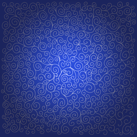 Pattern with curls on dark blue background. Can be used for wallpaper, pattern fills, greeting cards, webpage backgrounds, wrapping paper, scrap booking and textile or fabric.